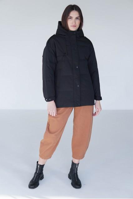 Куртка на пуху M1 черная  с поясом