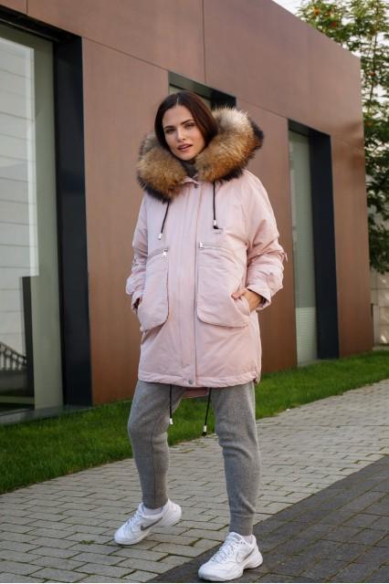 Женская куртка зефирка с мехом Laplin розовая