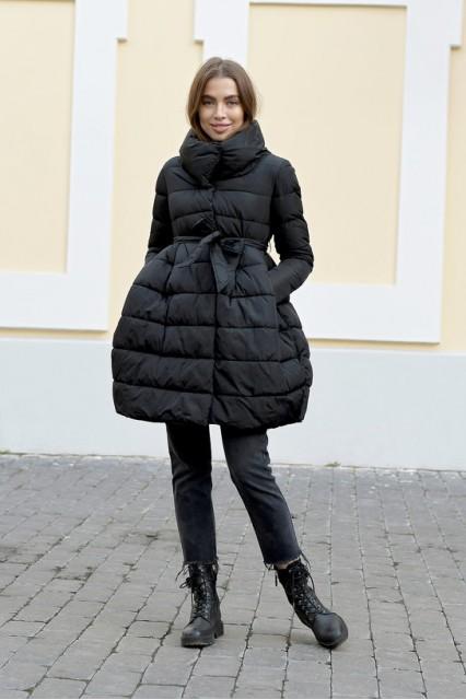Зимний женский облегченный пуховик с юбкой Laplin черный