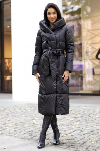 Удлиненное пальто с поясом черное