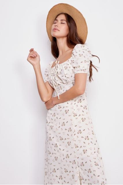 Платье Tina белое с принтом