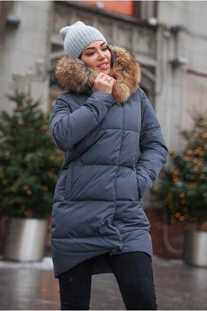 Зимний женский пуховик с мехом Ice yee серый