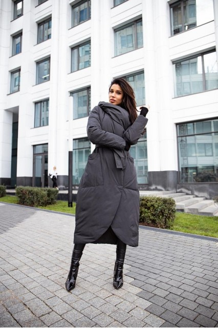 Пуховое Bilissimo хаки пальто