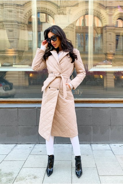 Damgarder Стеганое пальто с карманами молочное