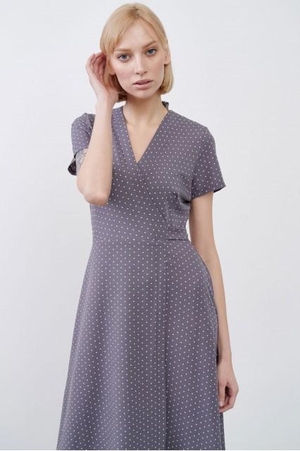 Платье серое Evi с принтом