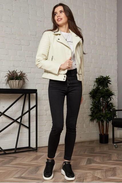 Damgarder Короткая куртка из эко-кожи белая