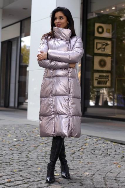 розовый Пуховик серебро
