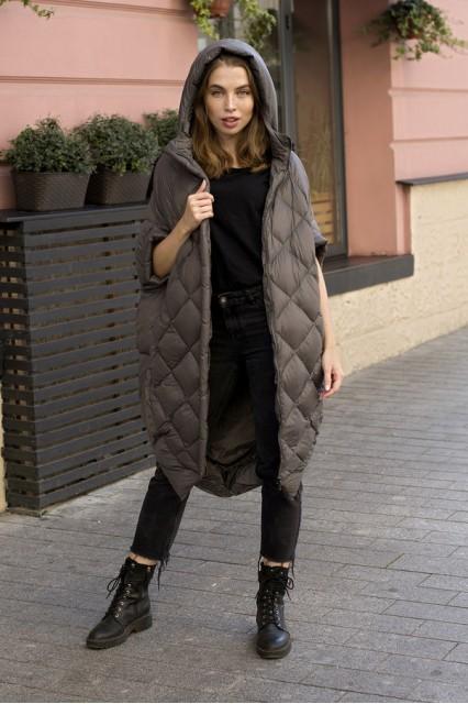 Женский пуховик одеяло Laplin серый