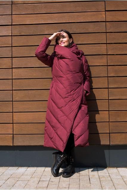 Длинный пуховик одеяло Eva винного цвета