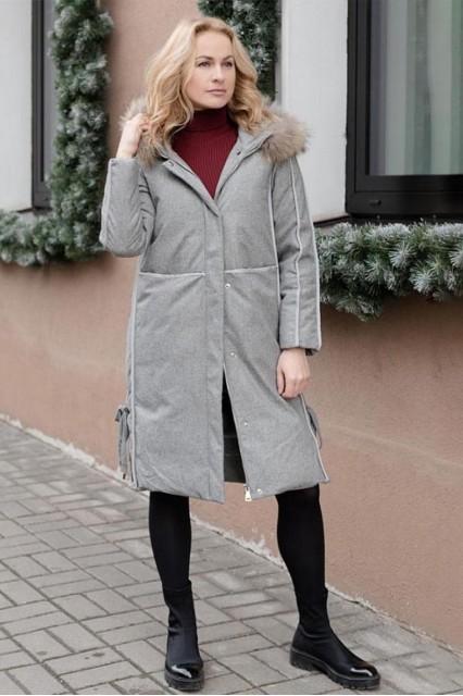 Зимнее женское пальто с мехом Laplin серое