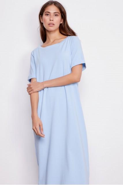 Платье с поясом голубое Paula