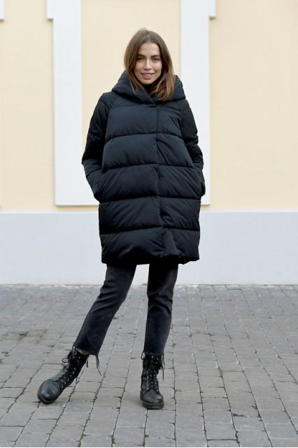 Женский пуховик зефирка BND черный