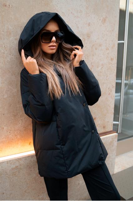 Куртка пуховая с поясом Jo черный
