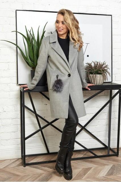 Damgarder Шерстяное пальто с меховым помпоном серое