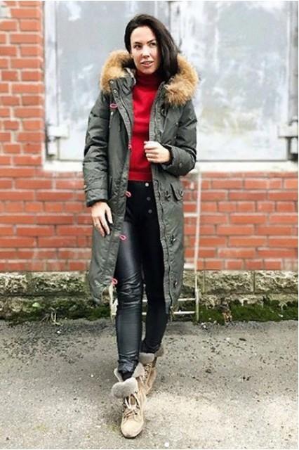 Пальто женское, зимнее, длинное на синтепоне хаки