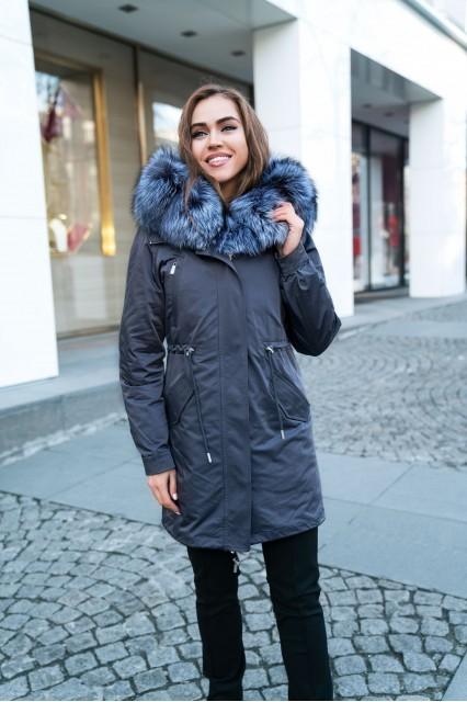 Серый пуховик Furs collection с мехом чернобурки