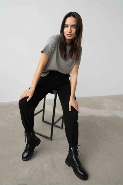 Укороченные джинсы черные