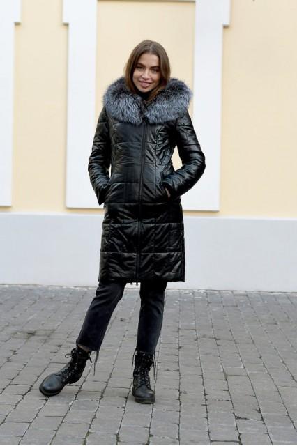 Зимняя женская длинная куртка с мехом чернобурки Laplin черная