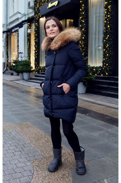 Зимний женский пуховик с мехом Ice yee темно-синий