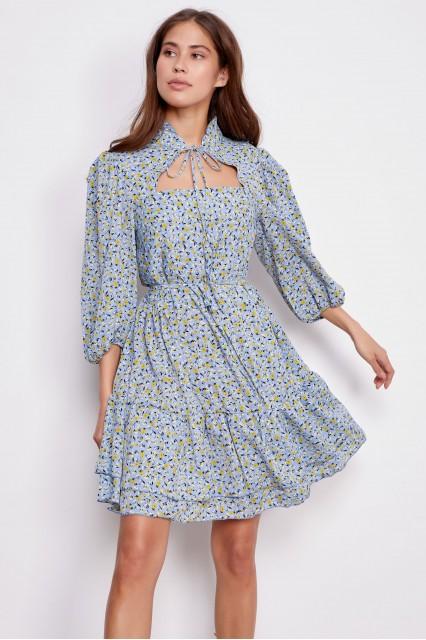 Платье с принтом голубое Jean