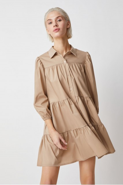 Платье-рубашка ярусное Agata, беж