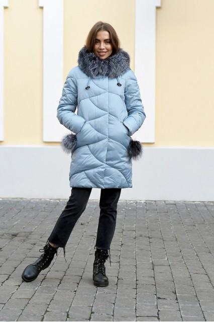 Пуховик Chanevia c мехом чернобурки 2019