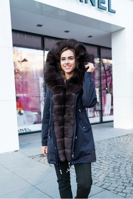 Парка с мехом песца черный Furs collection