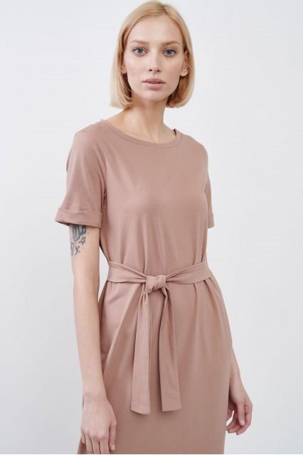 Платье Paula бежевое с поясом