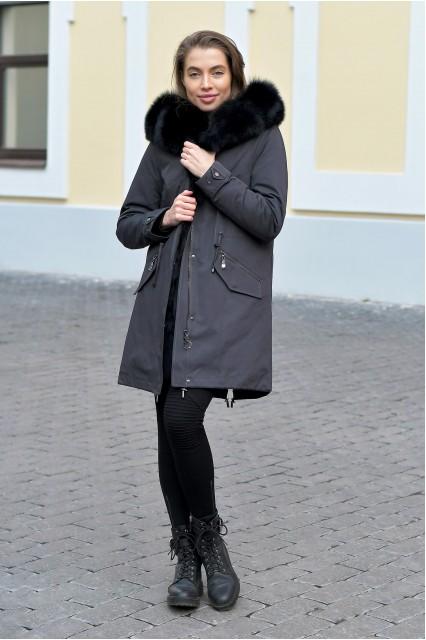 Зимняя женская парка с мехом внутри черная