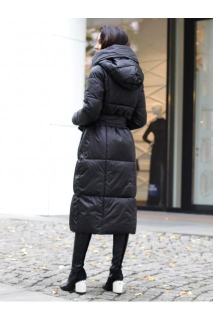 Пальто с поясом черное