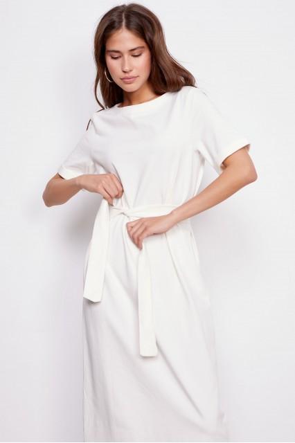 Платье с поясом белое Paula