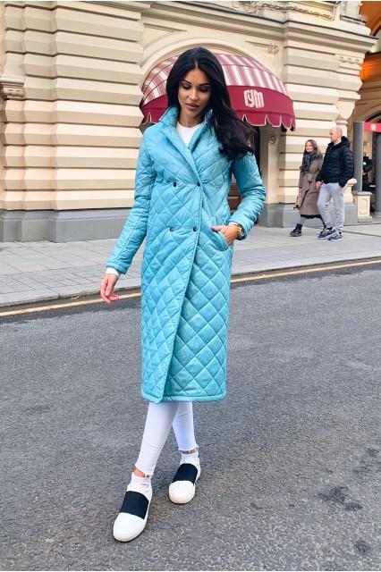Damgarder Стеганое пальто с карманами бирюза