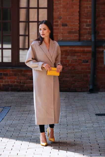Классического шерстяное пальто, бежевое
