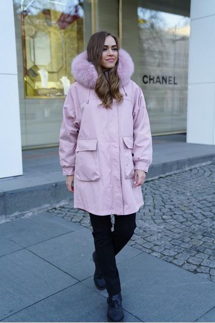 Парка с подстёжкой из меха кролика Furs collection розовая