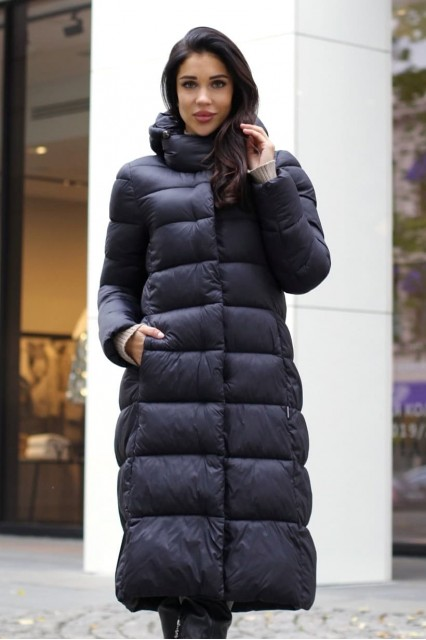 Пальто с поясом цвет черный