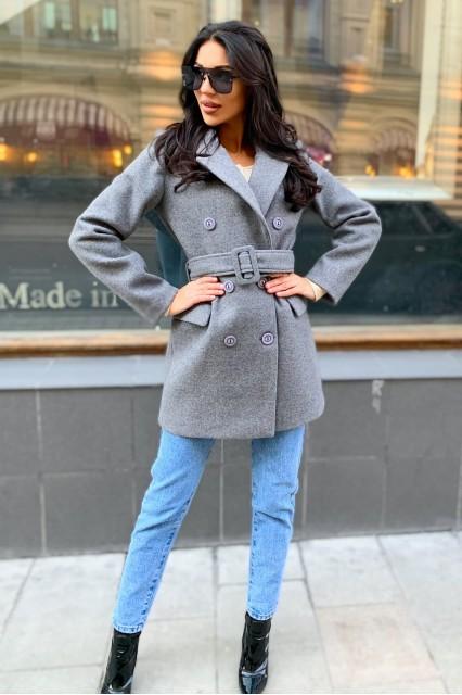 Damgarder пальто шерстяное с поясом серое