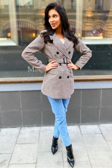 Damgarder пальто-пиджак в гусиную лапку с поясом
