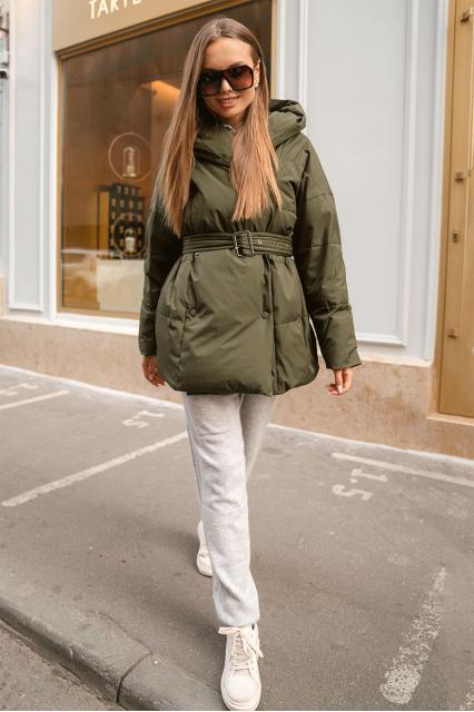 Куртка пуховая с поясом Jo хаки
