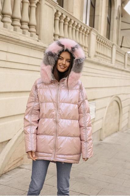 Куртка с полосатым мехом розовая