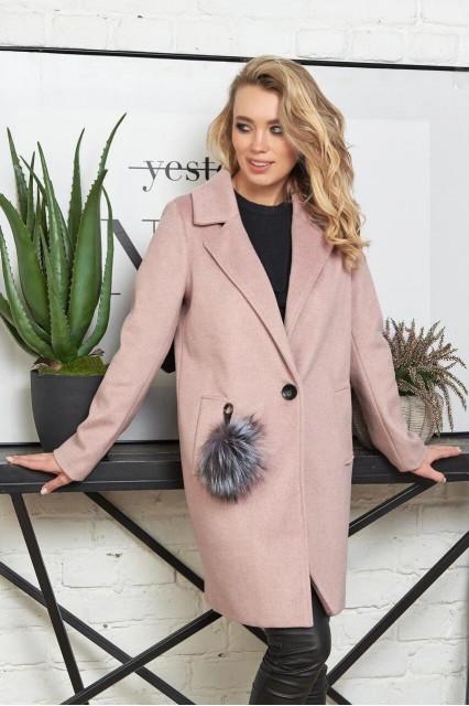Damgarder шерстяное пальто с меховым помпоном розовое