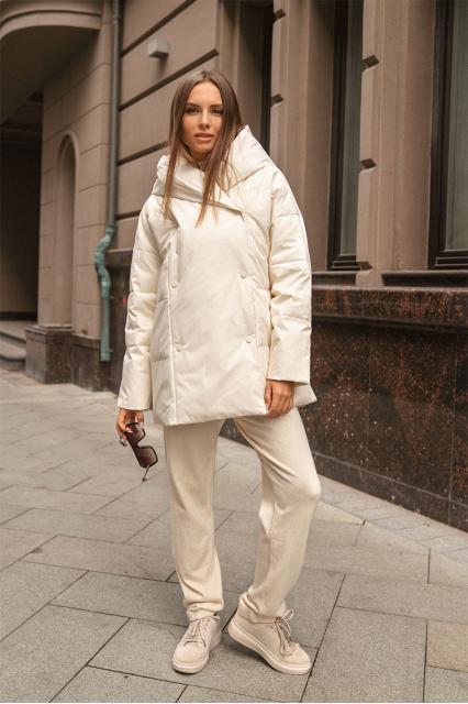 Куртка пуховая с поясом Jo белая