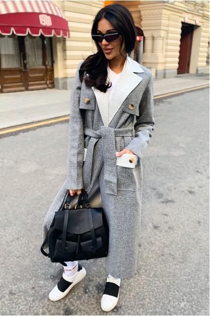 Пальто облегченное Damgarder с поясом серое