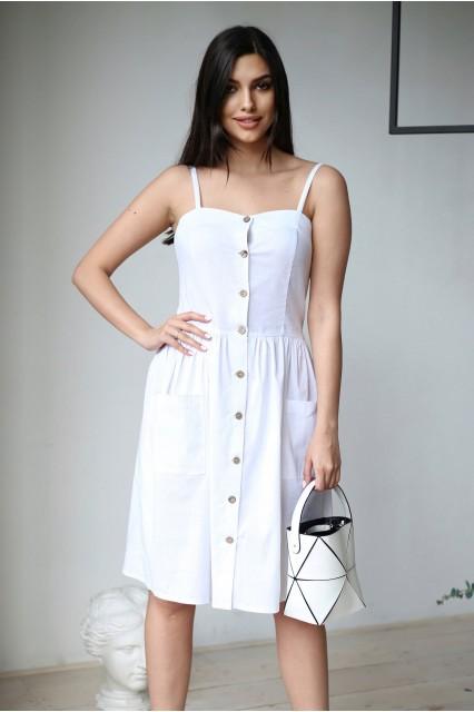 Платье  летнее белое с карманами