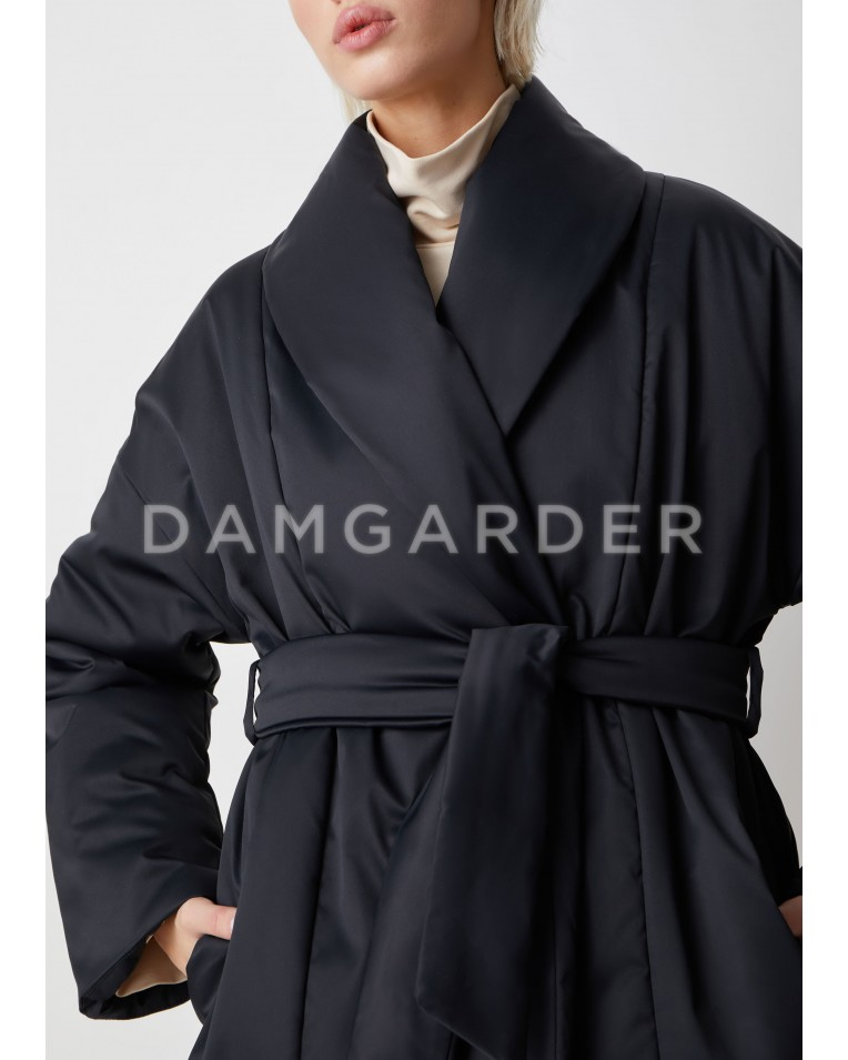 Куртка черный с поясом Ava