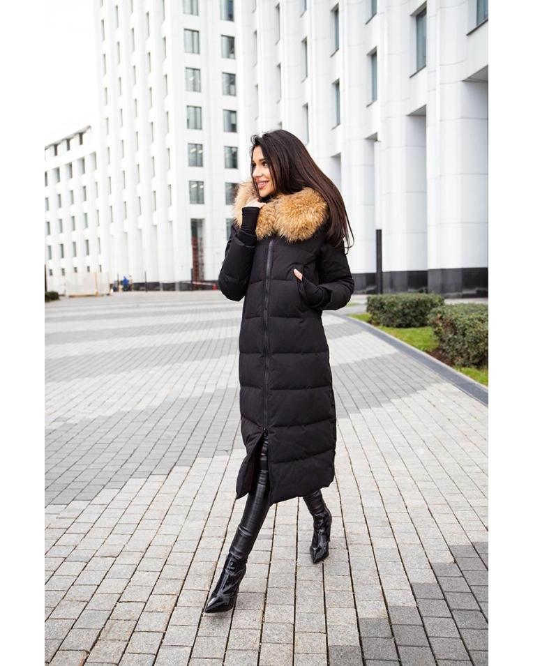 длинный женский черный пуховик