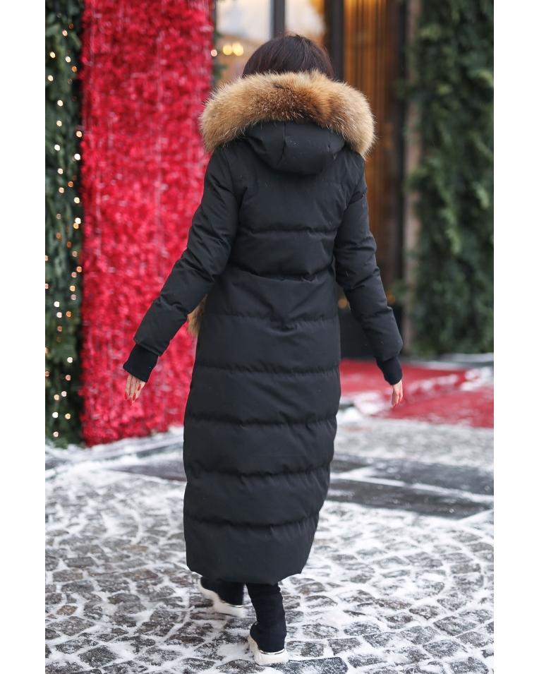 Пуховик с меховыми карманами Canada черный