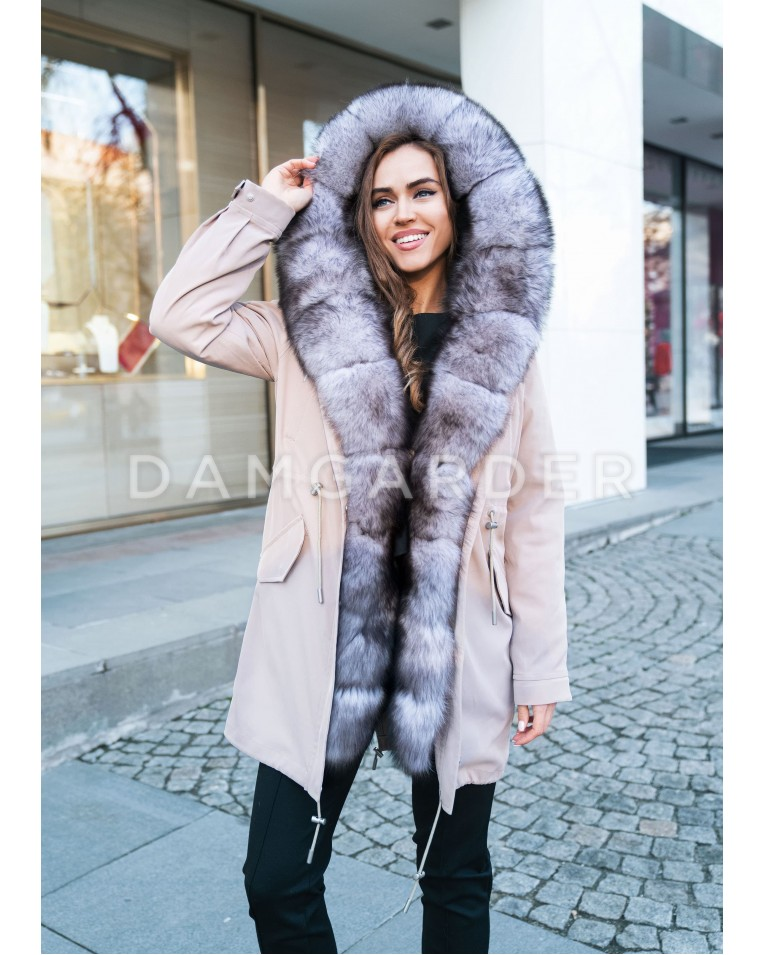 Пуховик с мехом чернобурки Furs collection бежевый