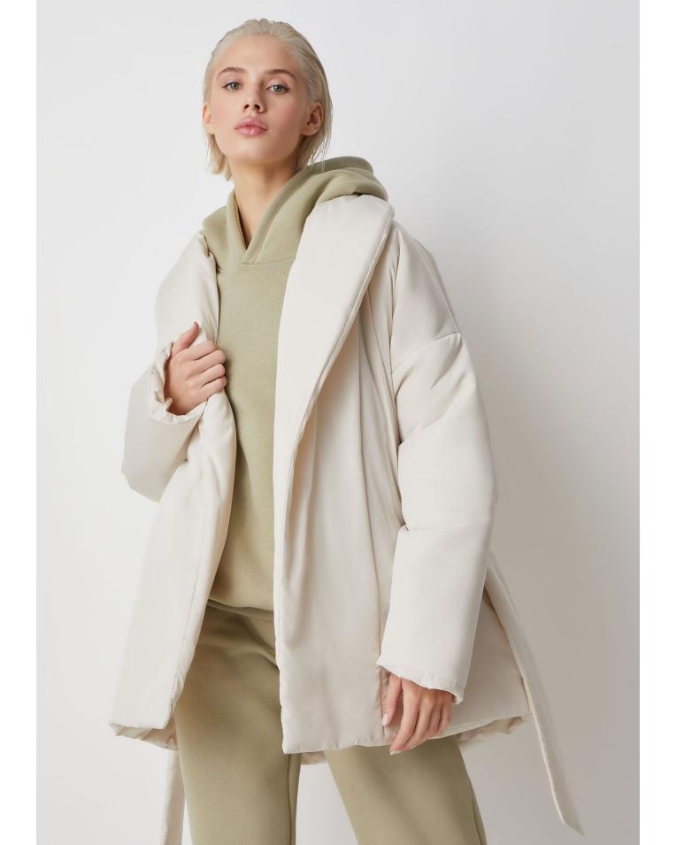 Куртка молочный с поясом Ava