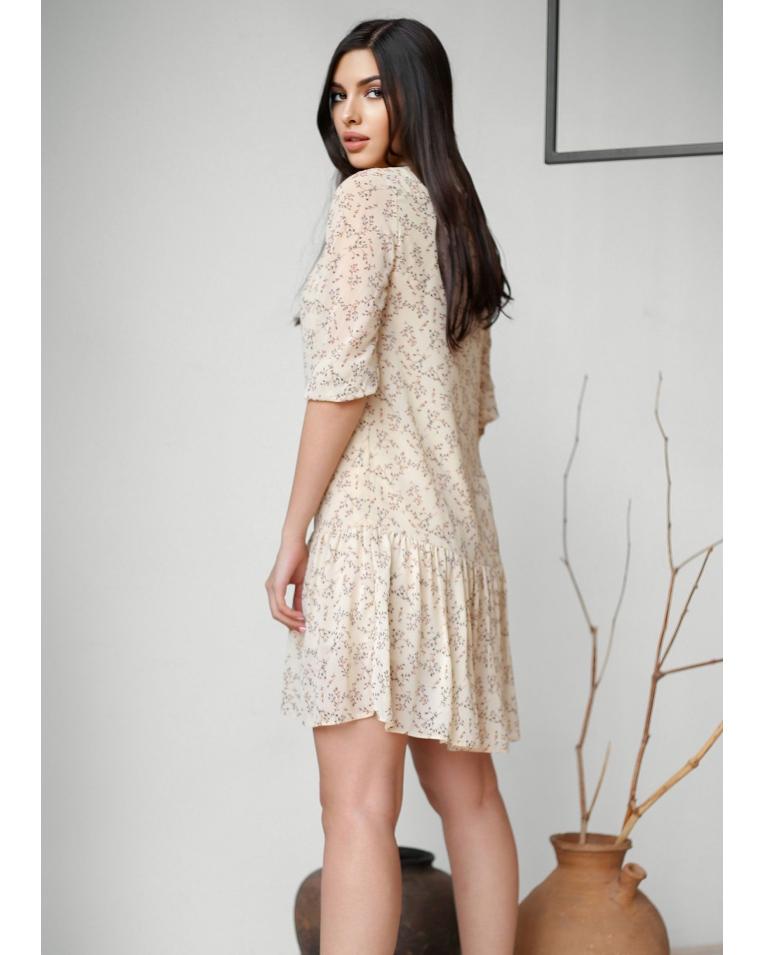 Легкое летнее  с поясом платьев цветочный принт