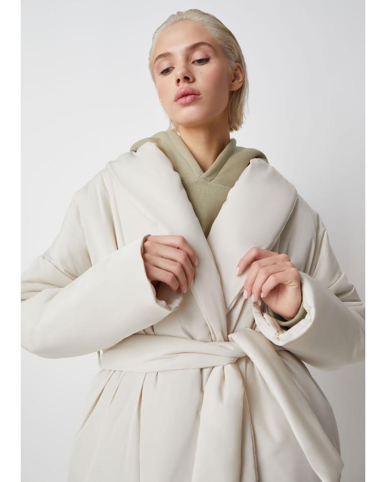 Куртка Ava молочный с поясом